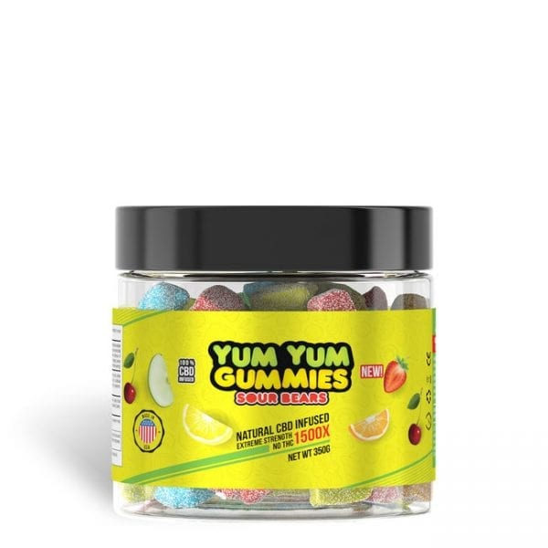 Yum Yum Gummies 1500x - CBD Infused Sour Bears [Edible Candy]