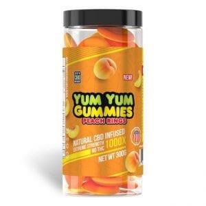 Yum Yum Gummies 1000x - CBD Infused Peach Rings [Edible Candy]